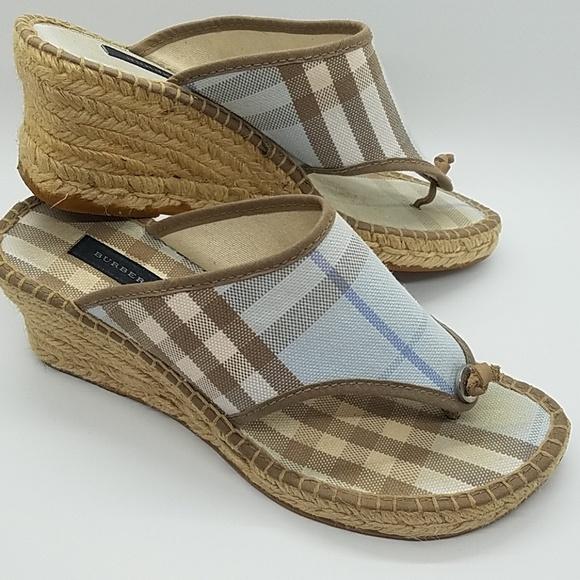 af0e7ff02 Burberry Shoes | Blue Nova Check Espadrille Wedge Sandal | Poshmark